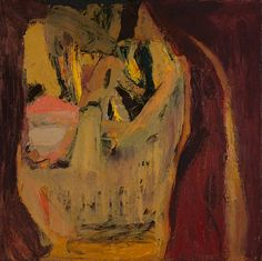 Eva Hesse, No Title, Oil on canvas. 20 x 20 inches. Verso on upper stretcher 'August 1960 eva hesse Top.' On lower stretcher 'eva hesse 1960.