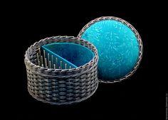 Купить Комбинированная шкатулка для ниток Серебряная Бирюза - шкатулка для рукоделия, органайзер для рукоделия