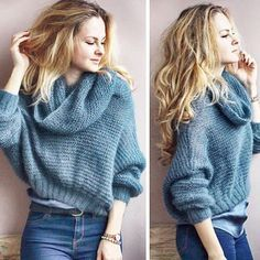 The knit sweatshirt – twitch Warm Outfits, Fall Winter Outfits, Sweater Outfits, Autumn Winter Fashion, Knit Fashion, Fashion Outfits, Moda Casual, Angora, Mohair Sweater