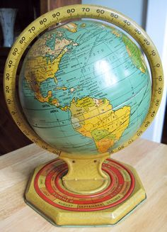 Old Metal School Globe -