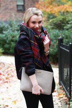 Poor Little It Girl - Nicole Miller Artelier Plaid Sweater, Paige Denim Black Jeans and ASOS Plaid Blanket Scarf
