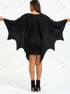 44a8e4b23b4f BLACK Halloween Long Sleeve Bat Wings Bodycon Dress L Batwing Sleeve, Long  Sleeve, Sheath
