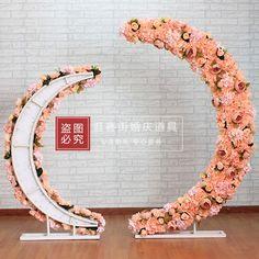 新款铁艺花艺月亮铁架 婚庆道具舞台背景装饰用品仿真花绢花拱门
