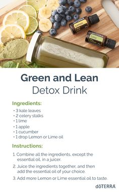 Let's detox! Try this recipe for a tasty detox drink, featuring Lemon and Lime essential oils. Top Essential Oils, Cooking With Essential Oils, Lime Essential Oil, Doterra Lemon Oil, Doterra Detox, Doterra Oils, Green Juice Recipes, Healthy Lifestyle Tips, Detox Drinks