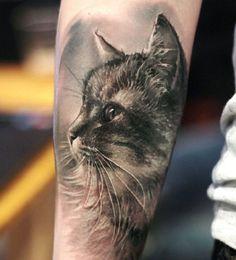 3D cute cat tattoo - 100  Examples of Cute Cat Tattoo  <3 <3