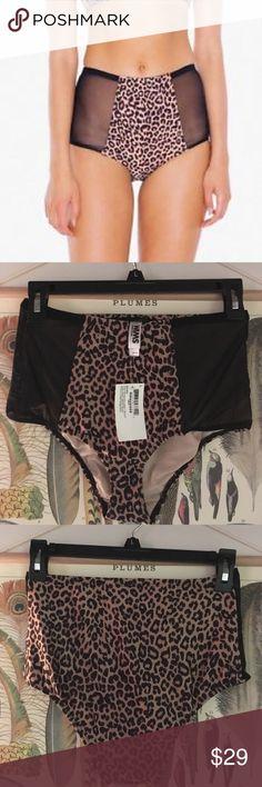 Cheetah Print Nylon Tricot High-Waist Swim Brief High waisted mesh detailed bottom, great for embracing your inner cheetah girl. American Apparel Swim Bikinis