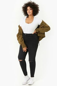 c837a6326f0b0 Plus Size Distressed Skinny Jeans