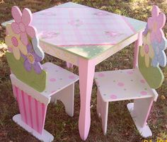 Childrens TABLE and CHAIR  kids CUSTOM Daisy by spoiltrottn,