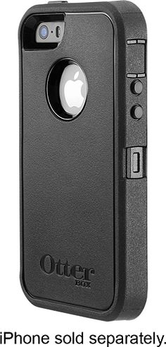 OtterBox - Defender Series Case for Apple® iPhone® SE, 5s and 5 - Black - Larger Front