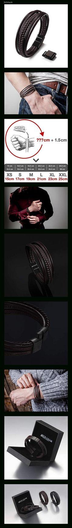 SERASAR 15cm Braun Männer-Armband Leder-Armreif Herren-Lederband Herrenarmreif Armschmuck Leder-Schmuck Herrenschmuck Flecht-Armband Leder-Wickelarmband Leder-Kette Armbändchen Men Leather Bracelet - 14fi