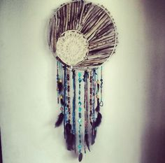 Custom-hand made turquoise dreamcatcher by Driftwood Gypsy