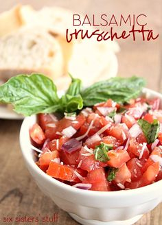 Quick and easy Balsamic Bruschetta | SixSistersStuff.com