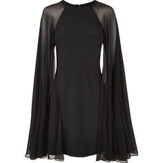 Karl Lagerfeld Silk Dress With Sheer Cape ($460) ❤ liked on Polyvore featuring dresses, transparent dress, karl lagerfeld, sheer silk dress, see-through dresses and silk dress