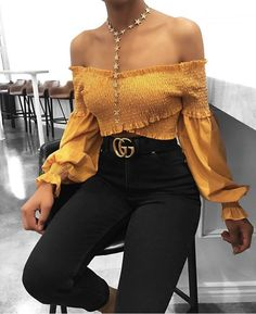 blouse girly mustard off the shoulder off the shoulder top crop tops crop cropped similar cute cute top cute outfits Mode Outfits, Trendy Outfits, Fall Outfits, Summer Outfits, Fashion Outfits, Womens Fashion, Fashion Trends, 90s Fashion, Fashion Black