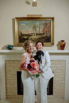 Featured on Equally Wed, the world's leading LGBTQ wedding magazine: Nancy and Tiffany tied the knot in Minnesota, showing off the best of Minnesota to their out-of-town friends, and having a blast in the process. Wearing all white, the couple looked stunning in a sleeveless lace gown and all white suit. The intimate ceremony took place indoors as guests watched on from bar tables. Afterwards, gusts enjoyed a delicious seafood spread with cocktail sauce shooters. Tiffany and Nancy headed out