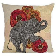 Throw pillow with a floral and paisley elephant design from DENY Designs. Made in the USA.  Product: PillowConstruction Material: Polyester cover and polyester fillColor: MultiFeatures:  Insert includedMade in the USADesigned by Valentina Ramos for DENY DesignsConcealed zipper closure Cleaning and Care: Spot treat with a mild detergent
