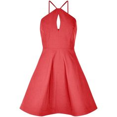 Red Bengaline Strappy Keyhole Front Skater Dress (€18) ❤ liked on Polyvore featuring dresses, key hole dress, red dress, red keyhole dress, red strap dress and strap dress