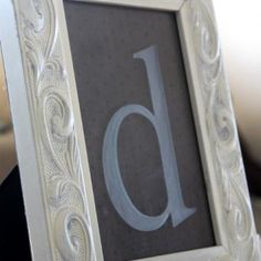 etched glass initial.