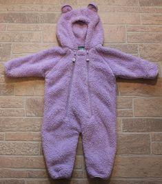 e2072cdcd LL BEAN Purple Fleece Bunting Bear Snowsuit Girls 3 6 Months Fuzzy Lavender