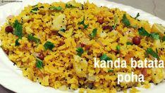 Kanda Batata Poha Recipe : How to make a healthy breakfast kanda poha - AchalaFood Lunch Box Recipes, Veg Recipes, Ground Beef Recipes, Indian Food Recipes, Cooking Recipes, Ethnic Recipes, Indian Snacks, Dinner Recipes, Breakfast Snacks