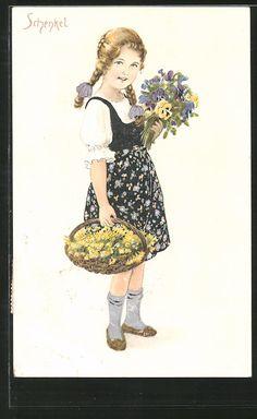 Künstler-AK Franziska Schenkel: Mädchen mit einem Blumenkorb 0