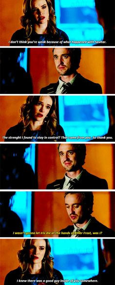 """""""I don't think you're weak because of what happened with Savitar. The strenght I found to stay in control? That came from you. So thank you"""" - Caitlin and Julian #TheFlash ((I like these two!!))"""