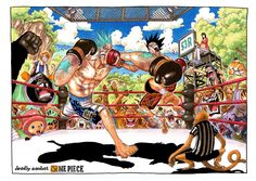 One Piece Color Spread : Chapter 454 - Deadly  Combat boxing match (Franky vs Luffy aka Iron Man vs Rubber Man)
