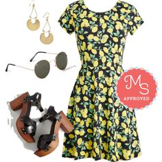 In this outfit: When Life Gives You Loveliness Dress, Live to Shell the Tale Earrings, Wish Upon a Modstar Sunglasses, What's Up, Dock? Heel #lemons #cute #vintage #retro #dresses #ModCloth #ModStylist #fashion