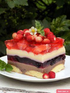 letnie ptasie mleczko z owocami Polish Recipes, Pastry Cake, Homemade Cakes, Something Sweet, No Bake Cake, Sweet Recipes, Yummy Treats, Sweet Tooth, Cheesecake