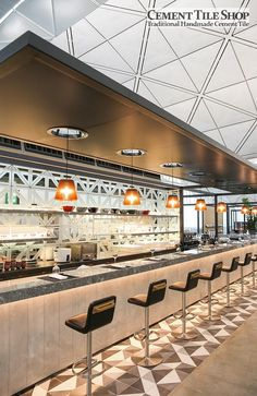 Cement Tile Shop - Handmade Cement Tile| Diagonal Pattern. Qantas Lounge at the Hong Kong International Airport. Call (800) 704-2701 for more information.