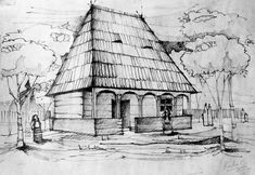 A traditional Romanian house from Maramures. [haven't posted a drawing here since a long, long time ] Traditional House House Sketch, House Drawing, Elven City, Stippling Art, Perspective Drawing, Architecture Old, Easy Paintings, Drawing Techniques, Pictures To Paint