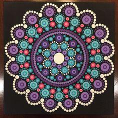 Mandala de punto hecho a mano 5 x 5 pulgadas en lona, Dotilism, arte de la pared de la pintura, Mandala, del punto