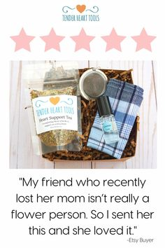 """Our care packages offer more than food, flowers, or """"stuff"""" for someone in grief. They send healing TOOLS that truly support the one you love during their most difficult moments in life. www.tenderhearttools.com #grieftea #herbsforgrief Condolence Gift, Sympathy Gifts, Sympathy Cards, Funeral Gifts, Mind Relaxation, Deepest Sympathy, Bereavement Gift, I Love My Friends, Care Packages"""
