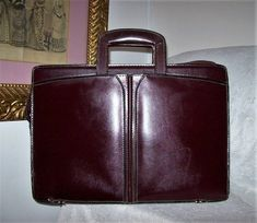 0511eb3b3ddd Vintage Burgundy Oxblood Leather Attache Case Briefcase Attorney Bag  Retractable Handles Only 22 USD