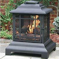 Click here for a larger image of the Black Powder Coated Steel Pagoda Chiminea and Outdoor Fireplace