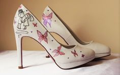 hand painted wedding shoes- Bride and groom with butterflies