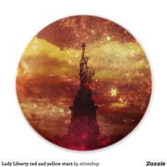 Lady Liberty red and yellow stars Ceramic Knob #sold on #zazzle