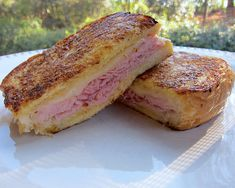 Monte Cristo Sandwich - ham and cheese sandwich dipped in an egg batter and fried up in a skillet