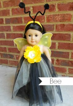 6 DIY Halloween Costumes for American Girl Dolls american girl bee costume American Girl Outfits, American Girl Doll Costumes, My American Girl Doll, Girl Costumes, Couple Costumes, Disney Costumes, Paper Doll Costume, Mouse Costume, Guy