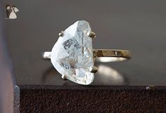 Natural Diamond Slice Ring - 14kt Yellow Gold - Wedding and engagement rings (*Amazon Partner-Link)
