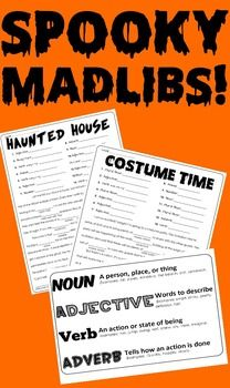 Boo! Have an (ADJECTIVE) time scaring the (NOUN) out of your friends with this pack of spooky Mad Libs. Here is a fun way to celebrate the fright and fun of late October as well as sneaking in some practice with recognizing and using the parts of speech.