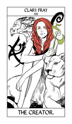 Clary Fray TMI Tarot Card drawn by Cassandra Jean
