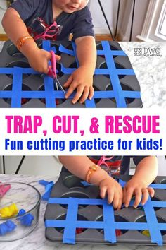 This cutting practice is a lot of fun! Inside this post, you will learn how to introduce scissors and where to store them. You don't want to miss this fine motor play for kids! Motor Skills Activities, Preschool Learning Activities, Preschool At Home, Preschool Lessons, Infant Activities, Fun Learning, Early Learning, Fine Motor Activity, Sensory Activities For Toddlers