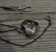 Sterling silver necklace, hand forged, glass heart cabochon, oxidized, unique, delicate on Etsy, £40.00