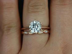 Rosados Box Skinny Webster & Ember Rose Gold FB Moissanite Six-Prong Webbed Wedding Set