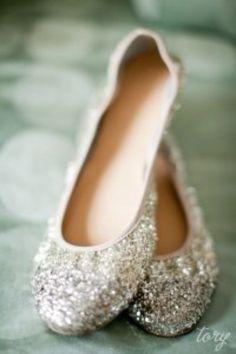 Ballerines à paillettes #mariée #chaussuresplates