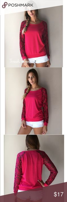 Hot Pink Lace Top Hot pink top featuring lace sleeves with hints of black and hot pink lace. Sizes small & medium Tops Tees - Long Sleeve