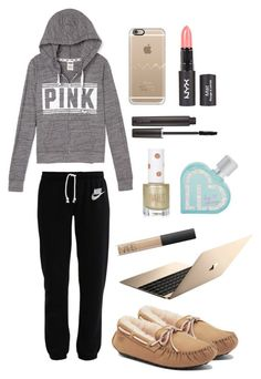 lounge. by horsecrazy33 on Polyvore featuring NIKE, UGG Australia, Casetify, Laura Mercier, NARS Cosmetics, Aéropostale, Topshop and LazyDay