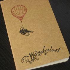 Wanderlust Notebook: Gocco Screen-Printed Lined