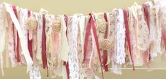 Shabby Chic Rag Banner  Touch of Cranberry. by modernragquilts, $37.00